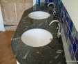 Double vanity top in Black Fosil marble