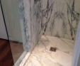 Marble shower tray in Arabascato Corchia