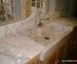 Statuary Vein marble worktops with solid marble sink