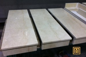 Marble Fireplace Back Panel And Hearth In Botticino Classico Marble
