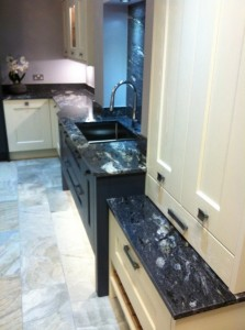 Granite worktops on display kitchen at Cavendish Kitchens Benton Showroom
