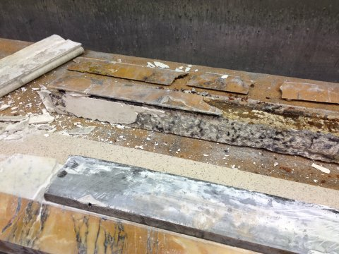 Period marble fireplace in bits